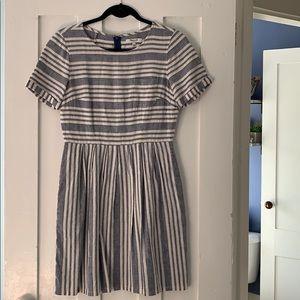 Madewell Cotton Linen Striped Summer Dress Size 2